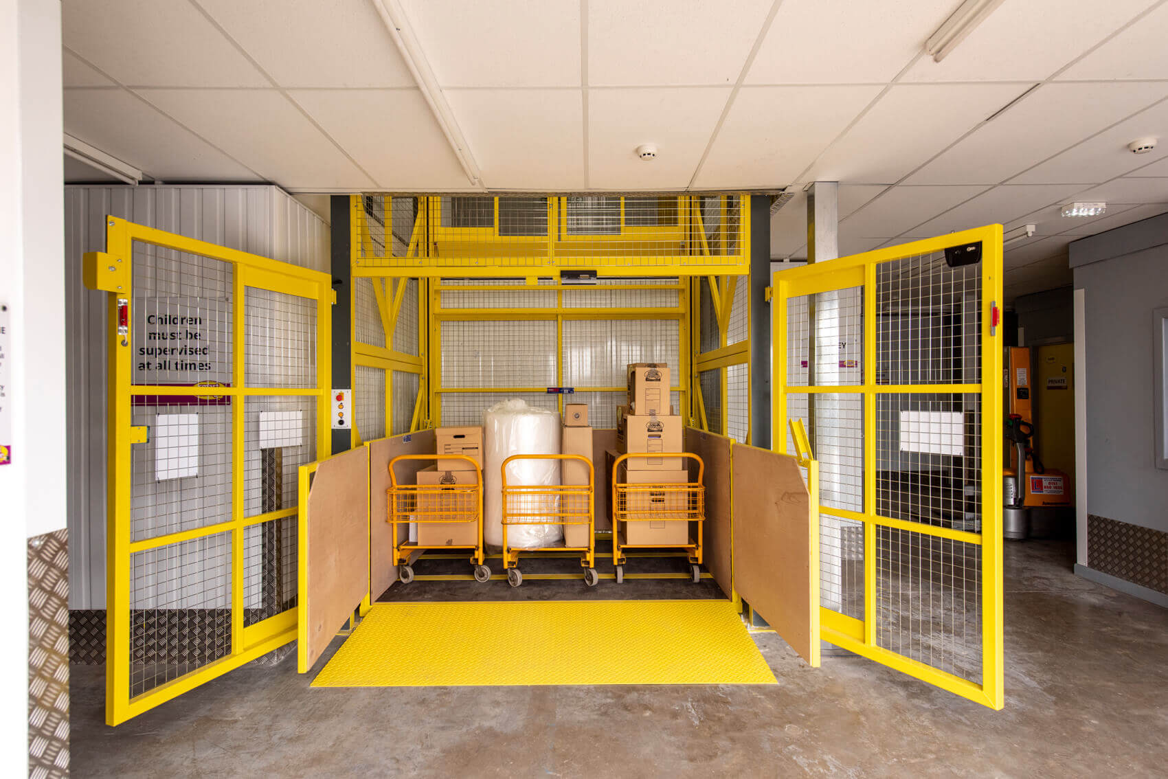 Fully loaded goods lift on ground floor