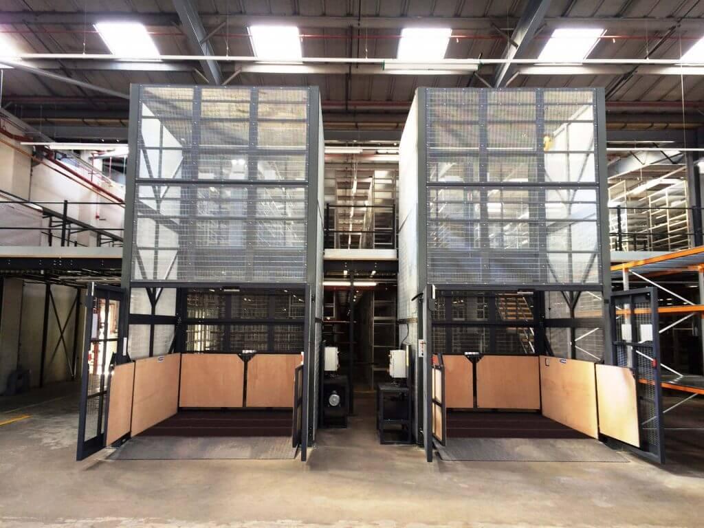 two mezzanine goods lifts