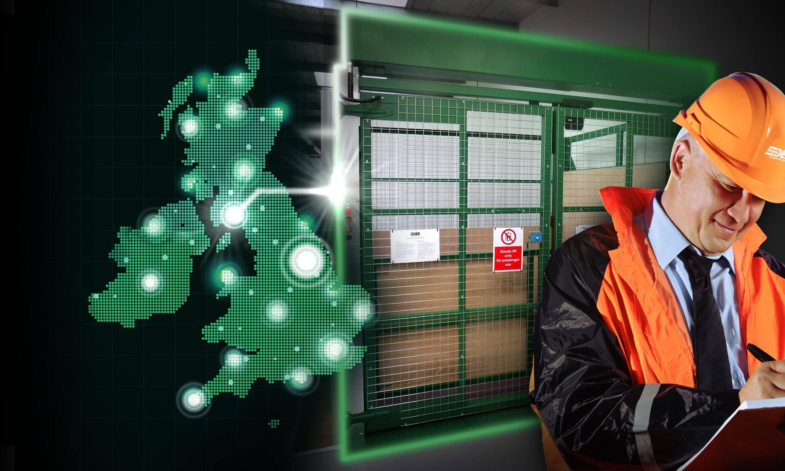 Man servicing goods lift + UK map