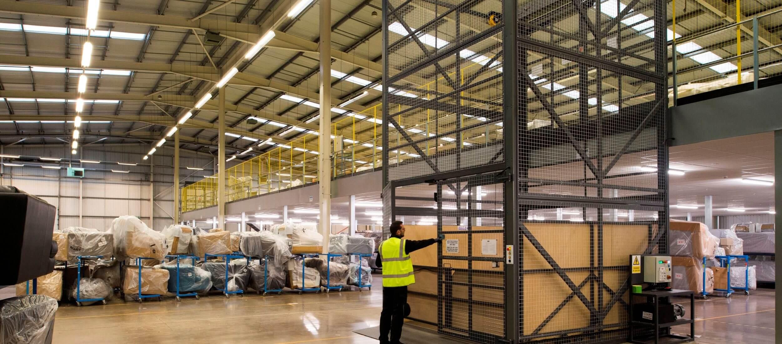 Mezzanine floor lifts in warehouse